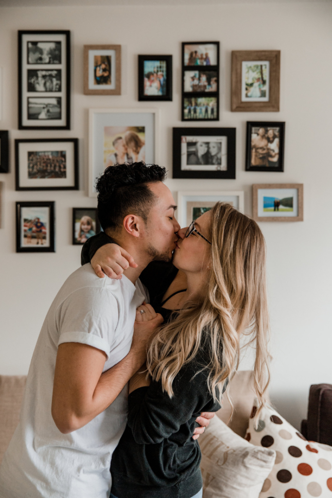 Couple Kissing in living room